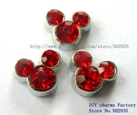 10pcs Red Rhinestone Mickey Floating Charms Fit Floating charms lockets FC029