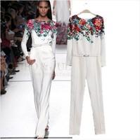 ASDS 2014 summer new European stars catwalk models women jumpsuit printed one piece pants with belt