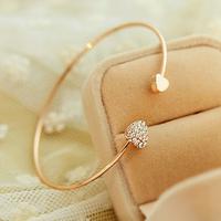 Fashion Opening Bracelet Lovely Double Heart Crystal Love bracelets  bangles for women