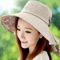 Hat female summer sunbonnet women's sunscreen sun hat beach cap large folding anti-uv summer hat