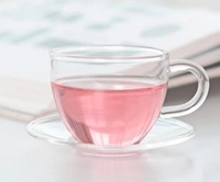 6 Small Clear Glass Tea Cup with Handle for Home Office Drinkware or for Gift