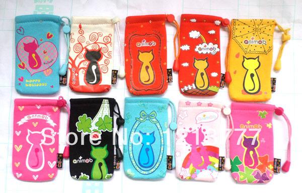 10 Pcs Drawstring cell Phone Sock Animob Cat design mobile phone charms(China (Mainland))