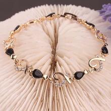 Unique New 14k Gold Filled Stylish Women Gift Party Heart Dorp Cut Black Sapphire Chain Bracelet  Bangle Jewelry B649(China (Mainland))