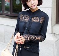 atacado roupas femininas~Spring New 2014 lace Patchwork full Sleeve Chiffon Blouse Stand Collar Shirt fashion women solid blusas