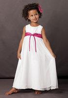 A-line Chiffon Empire Waist Fushia Sash Floor Length Flower Girl Dress
