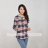 2014new Spring Autumn Stripe Plaid  Blouse women causal cotton shirts with Hat Japan Fashion style Long Sleeve Slim Women shirt