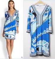 New 2014 Italy Designer Brand Dress Women's Blue Print V-Neck Three Quarter Sleeves Stretch Jersey Silk Plus Size XXL Dress