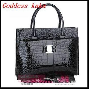 Полиуретан кожа крокодиловая кожа узор ранец сумочка наплечная сумка женщины тотализатор офис colthing аксессуары G004