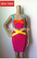 (DEIVE TEGER)Free shipping 2014 bandage Celebrity dress  Party Evening Dresses color block patchwork dress HL996