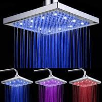 "8"" Square Temperature Sensor 3 Colors Bathroom LED Light Rain Shower Head Faucet"