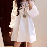 2014 new collection spring women's solid color loose lantern sleeve a cutout crotch lace one-piece dress vestidos de renda