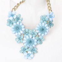 new 2014 fashion designer statement necklaces luxury brand items transparent crystal drop flower necklace women chain necklaces