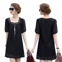 2014 summer mm chiffon loose plus size clothing crochet lace one-piece dress
