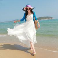Free shipping 2014 new arrival women sleeveless long bohemian chiffon full dress ladies summer v-neck beach maxi dress vestidos