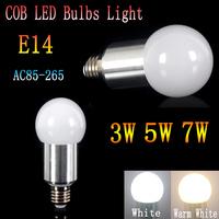 1pcs/lot Wholesale E14 COB LED Light Bulb Lamp 85-265V 3W/5W/7W White/Warm White  free shipping