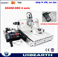 Ship fr UK,no tax.CNC 6040Z-S80 4 axis engraving machine for metal woods,CNC router with wireless handwheel