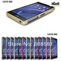 Original LOVE MEI Hippocampal Buckle Aluminium Metal Bumper For Sony Xperia Z2 L50 L50W ,+retail box 10pcs/lot free shipping