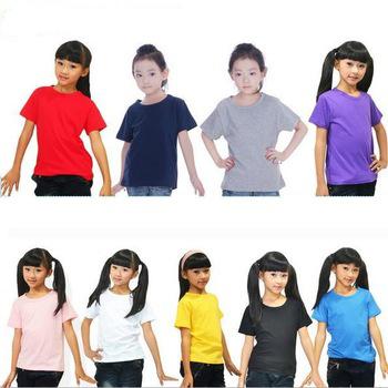 Kids Summer Dress Girls Boys White Casual-Shirt Cotton Blank Children's T Shirts Short Sleeves Plain Tshirt(China (Mainland))