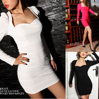FreeShipping Hot 2014 New Women Celebrity Style Sweetheart Solid Stitching Full Sleeve Mini Slim Stretch Sexy Work Pencil Dress