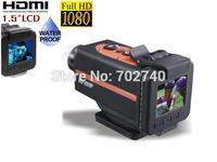 170 Degree Full HD 1080P 1.5 inch  screen  4 times digital zoomSport Action Camera Helmet waterproof camera   free shipping