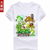 Plants vs . zoombies 2 t-shirt cartoon graphic patterns short sleeve t-shirt child summer Plants vs zombies T-shirt 100% cotton