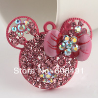 New 2014 40*34mm Hot Pink Bow Minnie Mouse Kawaii Pendant Inspired Metal Bling Rhinestone Chunky Necklaces Pendant 5pcs/lot DIY