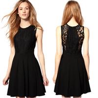 2014 fashion classic lace patchwork slim waist sexy one-piece dress