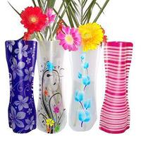 Min. order is $15 (mix order) Modern fashion 3182 at home folding plastic transparent fresh pvc flower vase eco-friendly