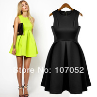 New 2014 Summer New Sleeveless Tank Dress Fashion Slim Cute Sweet Woman Clothing Green Black Long Dresses Size S,M,L#2208
