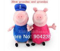 30cm Stuffed Animals Plush Movies TV Peppa Pig's Grandma Grandpa Set Anime Toys Plush Doll Gift For Kids Unisex