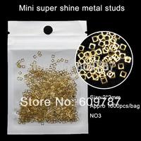 Free shipping 1000pcs/lot MINI 2mm hollow gold square shape alloy metallic nail decoration, DIY salon decorations