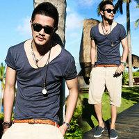 Summer  100% Bamboo Cotton  V-Neck Male Short-Sleeve Slim T-Shirts Men Tees