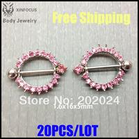 Popular Pink Crystal Nipple Ring Body Piercing Jewelry 1404012