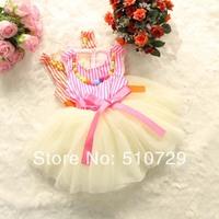 2014 baby girl summer vest dress with satin belt kids dresses colorful necklace 4pcs/lot wholesale vest dresses lace tutu skirt