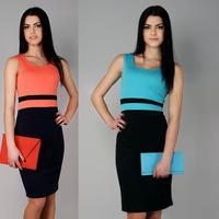 Free Shipping New 2014 Summer Sleeveless Women Celebrity Bodycon Midi Dress Ladies Pencil Evening Club Slim Panel Tea Dress