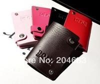 NEW 2014 rotating id card holder business w/ 10 place unisex  pu leather credit card case candy color wholesale 5pcs/lot