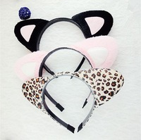 12pcs/lot Styling Cute Cat Ears Headband Leopard Print Hairband Cosplay Party Bunny Hair Hoop Accessories Free Shipping A0020