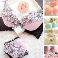 2014 New Women's embroidery bra & brief sets lady lace sexy push up bra set candy garter brassiere Underwear lingerie set