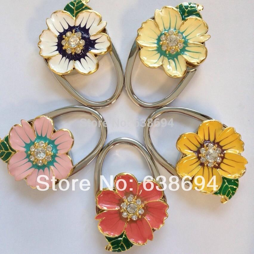 Solid Five Flower Metal Foldable Bag Purse Hook Bag Hanger/Purse Hook/Handbag Holder Bling Bag Folding Table Rhinestone Noble(China (Mainland))