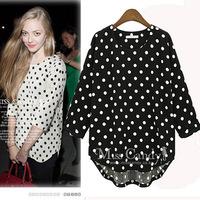 OVO!new 2014 women  spring summer blouse  casual and fashion Polka Dot Chiffon shirt  F.SZ.W.113