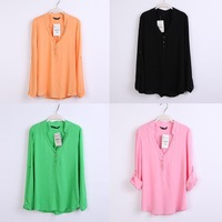 2015 Free Shipping   Women Spring Summer New Fashion 5 Candy Colors Long Sleeve V Neck Top Blouse Chiffon Shirt Feminina