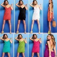Pareo Real Beach Tunic 2014 New Deep V Neck Open-back Beach Wear Cover Up Swimwear Bikini Skirt Dress free Shipping Dyyy-0161