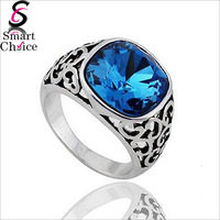 For My Princess!! top quality vintage 18K White Gold Plated Square Blue Zircon with Rhinestones Ring SMT-1542