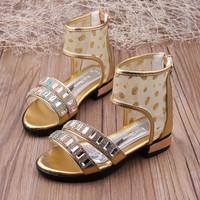 2014 summer female child sandals princess child shoes open toe sandals open toe shoe zipper high cutout shoes