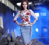 2014 europe fashion women elegant slim high waist light blue denim slit skirts all match middle length denim skirt XXL