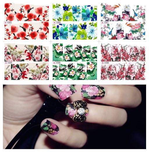 Acheter 18 ensemble. obtenir 6 ensemble de transfert d'eau d'impression de beauté des fleurs design élégant nail art sticker decal autocollants sur les ongles livraison gratuite