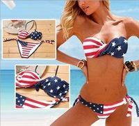 Stars & Stripes USA Padder Twist Bandeau Bikini American Flag Swimwear Swimsuit S/M/L