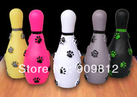 5pcs/lot Free Shipping Bowling pet sound toy Rubber dog toys, Colorful 15*5.5cm 50g
