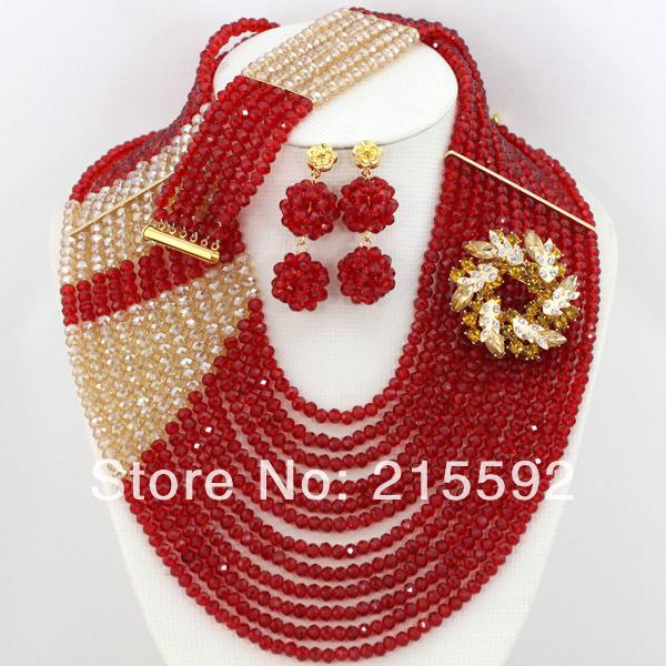 Новинка многожильный нигерии свадебные украшения установить с горный хрусталь цветочные женщины африканские бусины комплект ювелирных изделий бесплатная доставка AJS460
