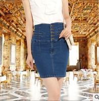2014 new women elegant slim high waist dark blue denim skirts all match middle length denim skirt plus size 3XL 4XL